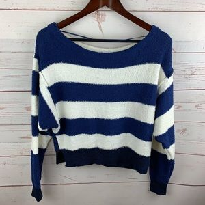 Free People | Candyland Blue White Cropped Sweater